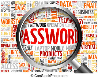 Password word cloud with magnifying glass, business concept
