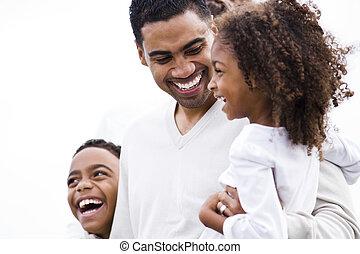 close-up, africano-americano, pai, rir, crianças