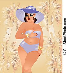 Plus size summer girl, vector illustration