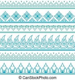 Seamless blue Thai pattern - Vector green and blue Thai...
