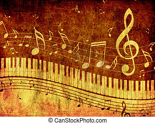 Piano Keyboard with Music Notes Grunge - Abstract...