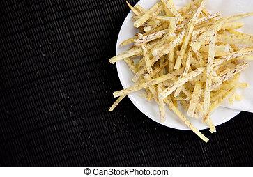 Fried taro chips with sugar, Taro Thai snacks