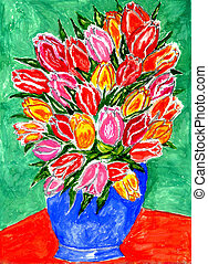 Tulips in a Vase Painting
