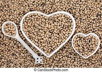 Black Eyed Peas - Black eyed peas health food in heart...