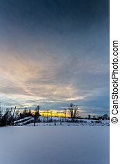 scenic rural winter sunset - scenic winter sunset in the...