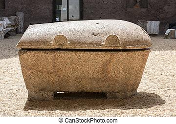 antiga, sarcófago, em, a, banhos, de, Diocletian, em,...