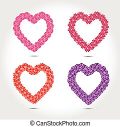 Hearts with flower vector