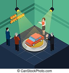 Car Auction Isometric - Isometric car auction process...
