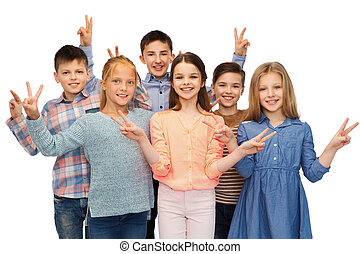 happy children showing peace hand sign - childhood, fashion,...