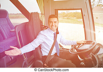 happy driver inviting on board of intercity bus - transport,...