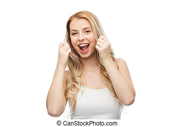 happy young woman with dental floss cleaning teeth - health...