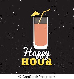 Happy hour label - Abstract happy hour label on a special...