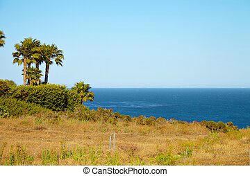 View from the cliff to the ocean in Malibu California
