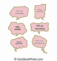 Text bubbles colored forms set vector illustration.