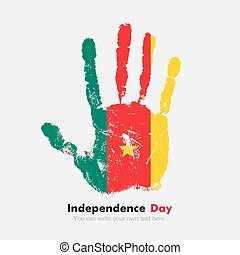Handprint with the Flag of Cameroon in grunge style - Hand...