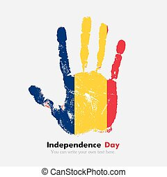 Handprint with the Flag of Chad in grunge style - Hand...