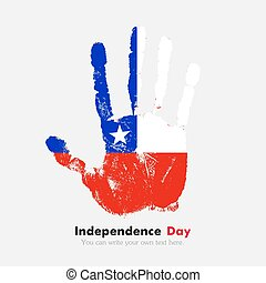 Handprint with the Flag of Chile in grunge style - Hand...