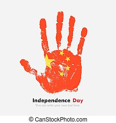 Handprint with the Flag of China in grunge style