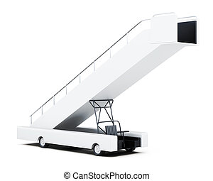 Movable boarding ramp isolated on a white background 3d...