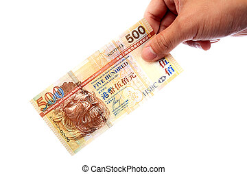 billete de banco, mano, Hong, Kong, $500, billete de banco