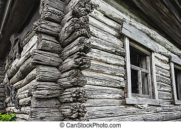 Dilapidated old wooden rustic house in Russia