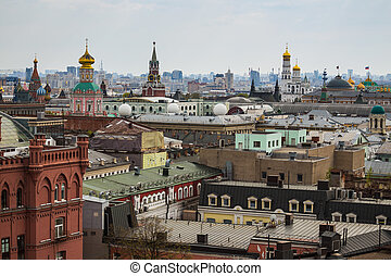Above view from observation deck in Central Children's World on historical center of Moscow
