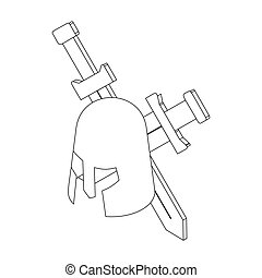Helmet with two swords, isometric 3d - Helmet with two...