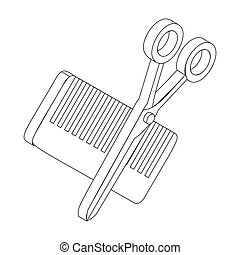 Comb and scissors icon, isometric 3d style - Comb and...