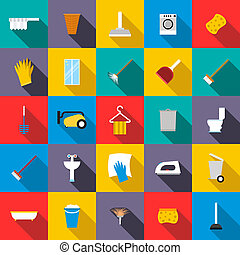 Cleaning icons set, flat style - Cleaning icons set in flat...