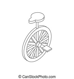 Unicycle icon, isometric 3d style Black illustration on...
