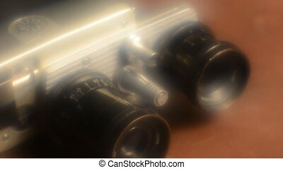 Old camera with two lenses blur effect retro camera