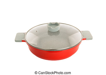 red ceramic-metal pan on a white background