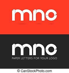 letter M N O logo paper set background