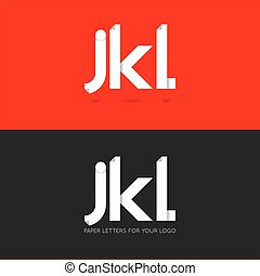 letter J K L logo paper set background
