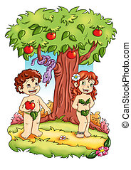 Adam and Eve - colored illustration of Adamo and Eva in the...