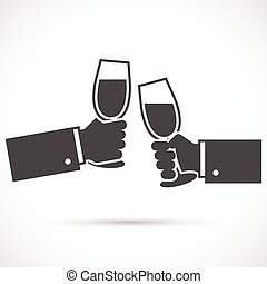 Sparkling champagne glasses. Two hands holding wine glasses