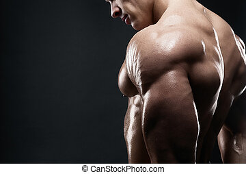 Muscled male model showing his back - Bodybuilder showing...