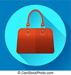 Red fashion women hand bag icon. Flat design style. - Red...