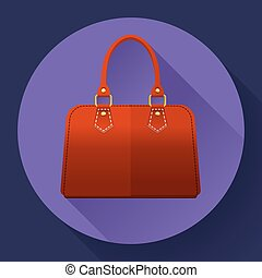 Red fashion women hand bag icon Flat design style - Red...