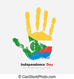 Handprint with the Flag of Comoros in grunge style - Hand...
