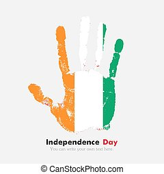 Handprint with the Flag of Cote dIvoire in grunge style -...