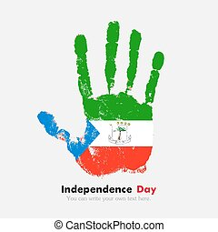 Handprint with the Flag of Equatorial Guinea in grunge style...