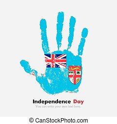 Handprint with the Flag of Fiji in grunge style - Hand...