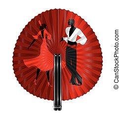 fan flamenco dancers