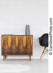 Trendy wooden commode on legs - Loft arrangement- lacquered...