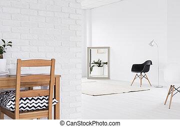 branca, abertos, espaço, em, estúdio, casa,