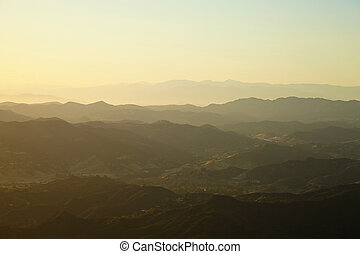 Sunset over the hills in Malibu