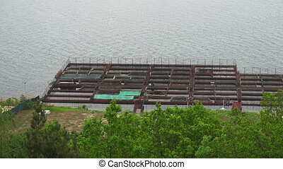 Pontoon sturgeon fish farm on an open water river coast