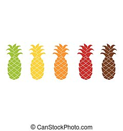 Flat pineapple icon set colorful. - Pineapple icon set...