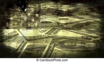 Burning Flag Money Grunge Non Looping Animated Background...